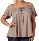 Women's Lace Up Cold Shoulder Top Taupe 17117