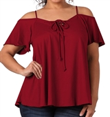 Women's Lace Up Cold Shoulder Top Burgundy 17117