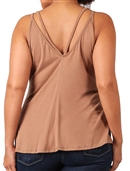 Women's Spaghetti Strap Sleeveless Blouse Camel