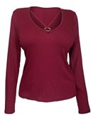 Women's O-ring Detail Long Sleeve Top Burgundy