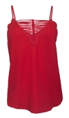 Women's Sexy Deep V-neck Cutout Blouse Red