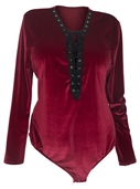 Women's Lace Up Velvet Bodysuit Burgundy