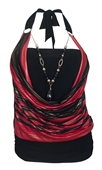 Women's Glitter Print Necklace Accented O-ring Strap Top Red Black