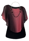 Women's Layered Poncho Top with Glitter Detail Coral