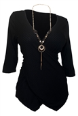 Women's Deep V-Neck Wrap Bodice Top Black 17117