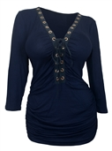Plus Size V-Neck Lace Up Top Navy 17117