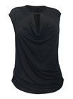 Women's Draped Bodice Blouse Black