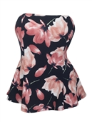 Women's Strapless Peplum Top Black Floral Print