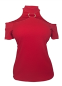 Women's O-ring accented Cold Shoulder Top Red