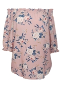 Women's Smocked Off The Shoulder Tunic Top Pink Floral