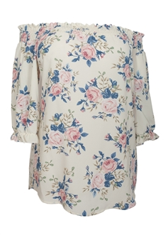 Women's Smocked Off The Shoulder Tunic Top Ivory Floral