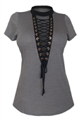 Women's Lace Up Mock Neck Top Gray