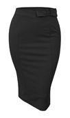 Women's Midi Pencil Skirt with Tie Detail Black