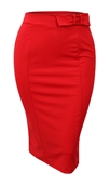 Women's Midi Pencil Skirt with Tie Detail Red
