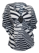 Women's Low Cut V-Neck Slimming Stripe Print Top Navy