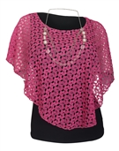 Women's Layered Lace Poncho Top Pink