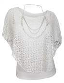 Women's Layered Lace Poncho Top White