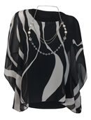 Women's Layered Square Poncho Top Black Stripe Print