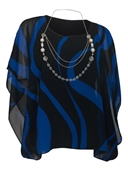Women's Layered Square Poncho Top Royal Blue Stripe Print