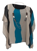 Women's Layered Square Poncho Top Teal Stripe Print