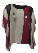 Women's Layered Square Poncho Top Burgundy Stripe Print