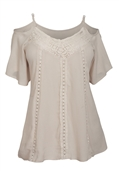 Women's Crochet Detail Cold Shoulder Top Ivory