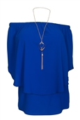 Women's Layered Off The Shoulder Top Royal Blue
