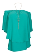 Women's Layered Off The Shoulder Top Teal