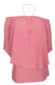 Women's Layered Off The Shoulder Top Pink