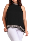 Women's Embroidery Detail Sleeveless Top Black