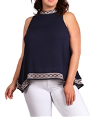 Women's Embroidery Detail Sleeveless Top Navy