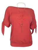 Plus size Cold Shoulder Top with Necklace Detail Coral