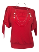 Plus size Cold Shoulder Top with Necklace Detail Red