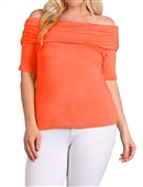 Women's Short Sleeve Off Shoulder Top Coral