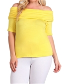 Women's Short Sleeve Off Shoulder Top Yellow