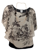 Women's Layered Poncho Top with Floral Print Taupe