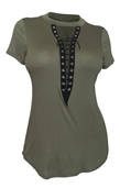 Women's Lace Up Mock Neck Top Olive 1761
