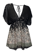 Plus Size Sheer Deep Cut V-Neck Floral Print Tunic Top Black 1761