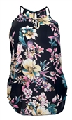 Plus Size Sleeveless Sheer Chiffon Keyhole Top Navy Floral Print 1761