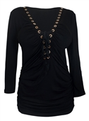 Plus Size V-Neck Lace Up Top Black 1772