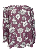 Plus Size Smocked Off The Shoulder Tunic Top Mauve Floral