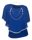 Plus Size Layered Poncho Top Crochet Trim Royal Blue