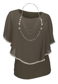 Plus Size Layered Poncho Top Crochet Trim Olive