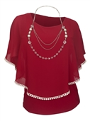 Plus Size Layered Poncho Top Crochet Trim Burgundy