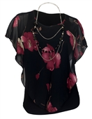 Plus Size Layered Poncho Top Black Floral Print