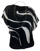 Plus Size Layered Poncho Top Black Designer Print 1792