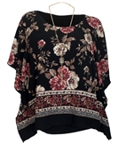 Women's Layered Square Poncho Top Black Floral Print 1792