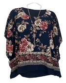 Women's Layered Square Poncho Top Navy Floral Print 1792