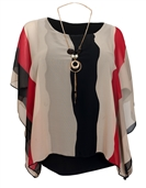 Women's Layered Square Poncho Top Red Stripe Print 1792