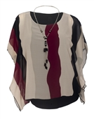 Women's Layered Square Poncho Top Burgundy Stripe Print 1792